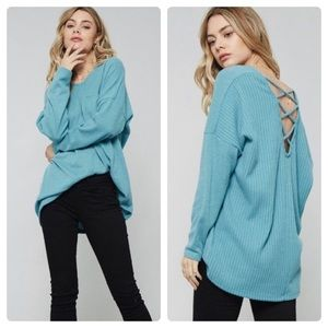 Tops - Soft teal x-strap back top